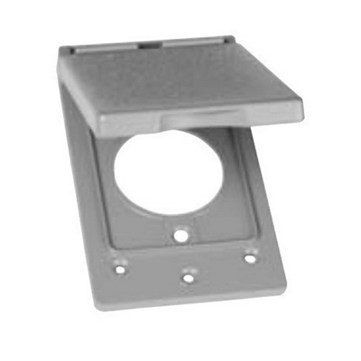 Thepitt TP7214 Rectangular Self-Closing 1-Gang Weatherproof Outlet Cover; 1 Outlet, Box/Vertical, Die-Cast Zinc, Gray