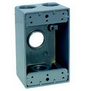 Thepitt TP7034 Rectangular 1-Gang Weatherproof Outlet Box With Lugs; 4 Outlet, Mounting Feet, Die-Cast Aluminum, Gray