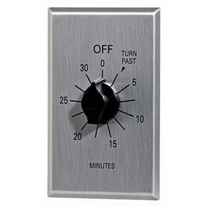NSI C530M Tork® C Series Commercial Style Sringwound Auto Off In-Wall Time Switch; 30 min Maximum, Metal-Brushed Aluminum, SPST, 125/250/277 Volt AC