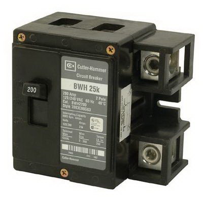 Eaton / Cutler Hammer BWH2200 Main Circuit Breaker; 200 Amp, 120/240 Volt AC, 2-Pole, Panel Mount