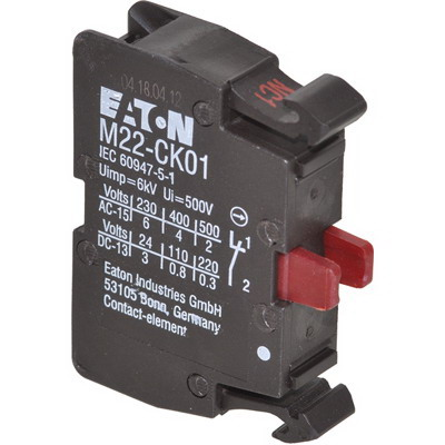 Eaton / Cutler Hammer M22-CK01 Contact Block; 4 Amp, 22.5 mm Front Mount, 1 NC, Cage Clamp Connection