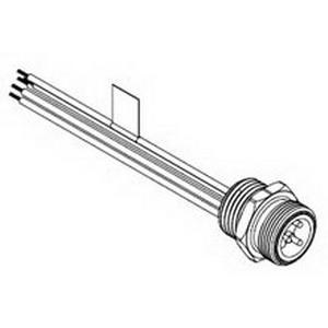 Woodhead / Molex 1R5004A20A120 Brad® Mini-Change® Straight A-Size Receptacle; 8 Amp, 600 Volt AC/DC, 5-Pole, 12 Inch Lead, 16 AWG, Female, Black Epoxy Coated Zinc Die-Cast Shell