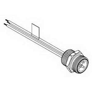 Woodhead / Molex 1R5006A20A120 Brad® Mini-Change® Straight A-Size Receptacle; 8 Amp, 600 Volt AC/DC, 5-Pole, 12 Inch Lead, 16 AWG, Male, Black Epoxy Coated Zinc Die-Cast Shell