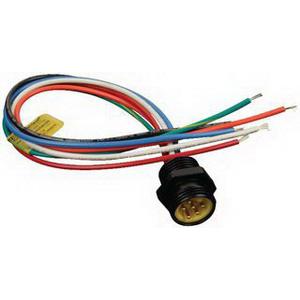 Woodhead / Molex 1R6006A20A120 Brad® Mini-Change® Straight A-Size Receptacle; 8 Amp, 600 Volt AC/DC, 6-Pole, 12 Inch Lead, 16 AWG, Male, Black Epoxy Coated Zinc Die-Cast Shell
