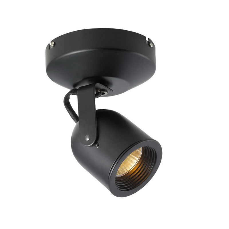 Wall Mounted Spot Lamps : WAC Lighting ME-808-BK 1-Light Halogen Wall/Ceiling Mount Single Spot Light; 50 Watt, GU5.3 Bi ...