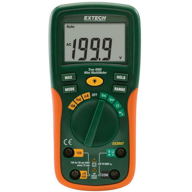 FLIR (Extech) EX205T True-RMS Multimeter; 600 Volt AC/DC, 10 Amp AC/DC, 200 Ohm to 0.01 milli-ohm, +/- 0.5% Basic Accuracy (Volt DC)