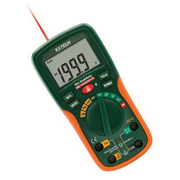 FLIR (Extech) EX210T True-RMS Digital Multimeter; 600 Volt AC/DC, 10 Amp AC/DC, 20 milli-ohm, +/- 0.5% Basic Accuracy (Volt DC)
