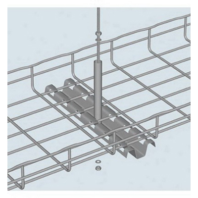 Cablofil FASPCH300PG FAS Style Wiremesh Cable Tray Center Hanger; 11.570 Inch x 2.400 Inch x 5.910 Inch, 0.89 lb Work Load Limit, Carbon Steel, Pre-Galvanized