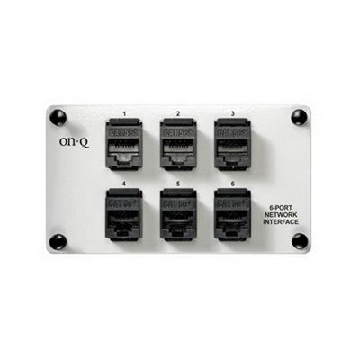 On-Q AC1000 8P8C RJ45 Female Network Interface Module; 6-Port, 18 Gauge Cold Rolled Steel, Gray