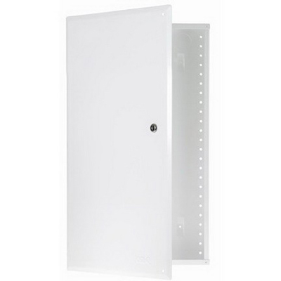 On-Q EN2850 Enclosure With Hinged Door; Surface/Flush Mount, Glossy White