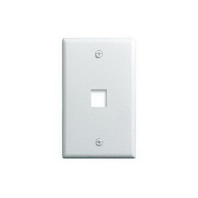 On-Q WP3401-WH 1-Gang Wallplate; Wall Box, (1) Receptacle, (1) Keystone, High Impact Flame Retardant Plastic, White