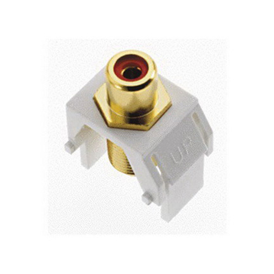 On-Q WP3462-WH RCA to F-Type Keystone Insert; Wallplate or Strap Mount, White/Red