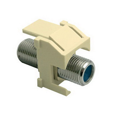 On-Q WP3481-LA Standard F-Type Connector Keystone Insert; M20 Screw/Wallplate or Strap Mount, Light Almond