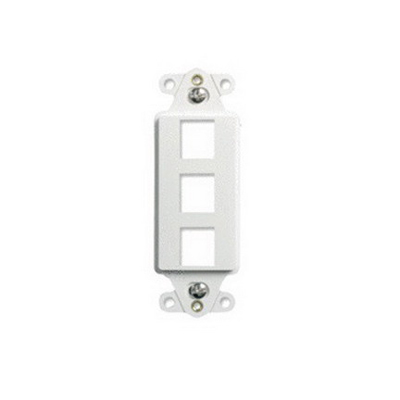 On-Q WP3413-WH 1-Gang Decorator Outlet Strap; Wall Box, (3) Receptacles, (3) Keystones, High Impact Flame Retardant Plastic, White