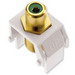 On-Q WP3463-WH RCA to F-Type Keystone Insert; M20 Screw/Wallplate or Strap Mount, White/Green