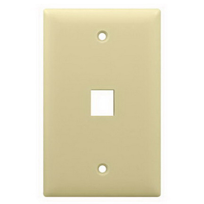 On-Q WP3401-LA 1-Gang Wallplate; Wall Box, (1) Receptacle, (1) Keystone, High Impact Flame Retardant Plastic, Light Almond