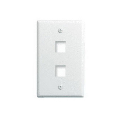 On-Q WP3402-WH 1-Gang Wallplate; Wall Box, (2) Receptacles, (2) Keystones, High Impact Flame Retardant Plastic, White