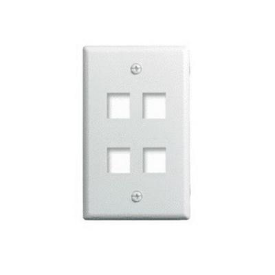 On-Q WP3404-WH 1-Gang Wallplate; Wall Box, (4) Receptacles, (4) Keystones, High Impact Flame Retardant Plastic, White