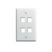 On-Q WP3404-WH 1-Gang Wallplate; Wall Box, (4) Receptacles, (4) Keystones, High Impact Flame Retardant Plastic, White