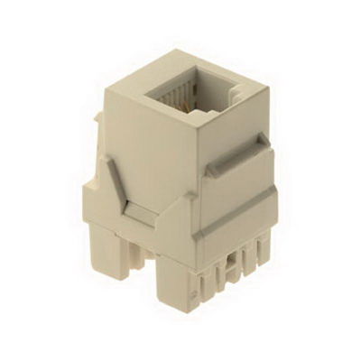 On-Q WP3425-LA RJ25 Female Connector; Wallplate or Strap Mount, 8P8C, Light Almond