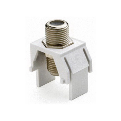 On-Q WP3479-WH Non-Recessed F-Type Keystone Coax Connector; Wallplate or Strap Mount, White