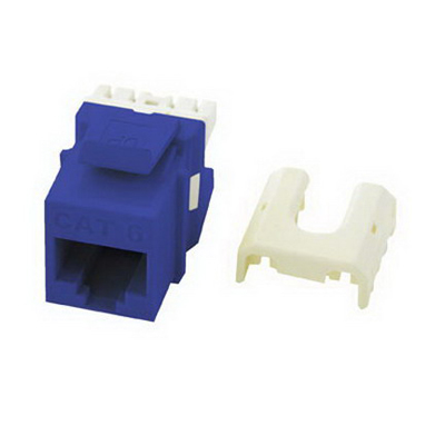 On-Q WP3476-BE Quick Connect Category 6A RJ45 Female Keystone Insert; Wallplate or Strap Mount, 8P8C, Blue