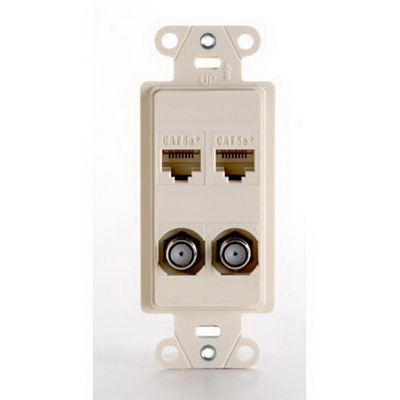 On-Q WP3422-LA 1-Gang Front Jack Pre-Configured Strap; Wall Box, (2) RJ45, (2) F-Type Connectors, High Impact Flame Retardant Plastic, Light Almond