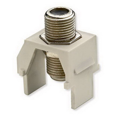 On-Q WP3479-LA Non-Recessed F-Type Keystone Coax Connector; Wallplate or Strap Mount, Light Almond