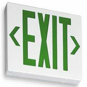 Lithonia Lighting / Acuity LE-S-2-G-120/277-EL-N LE Series Exit Signs; 120/277 Volt AC, 1.7 Watt, Green Letter