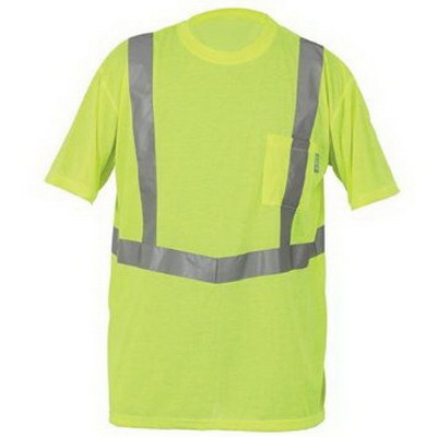 Lift Safety AVE-10LL Viz-Pro Tee Shirt; Large, Polyester Knit, Hi-Viz Yellow