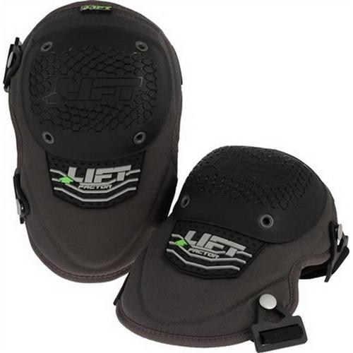 Lift Safety KFR-OK Factor Knee Guard; Ballistic Nylon, Hard Plastic Cap, PU Foam Padding, Charcoal Gray/Black