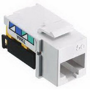 Hubbell Wiring NSJ5EI NetSelect® Universal A/B Standard Size Category 5e Modular Voice/Data Jack; Screw Mount, 8P, Electric Ivory