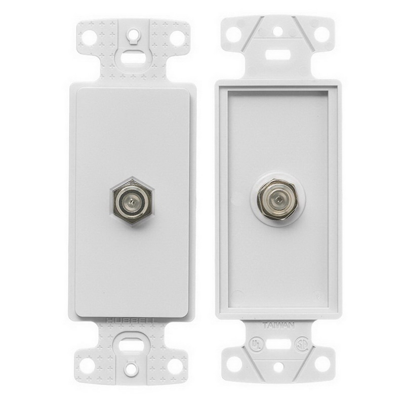Hubbell Wiring NS780W NetSelect® 1-Gang Bulk Head Decorator Frame; Screw, (1) F-Type Connector, High Impact Resistant Thermoplastic, White