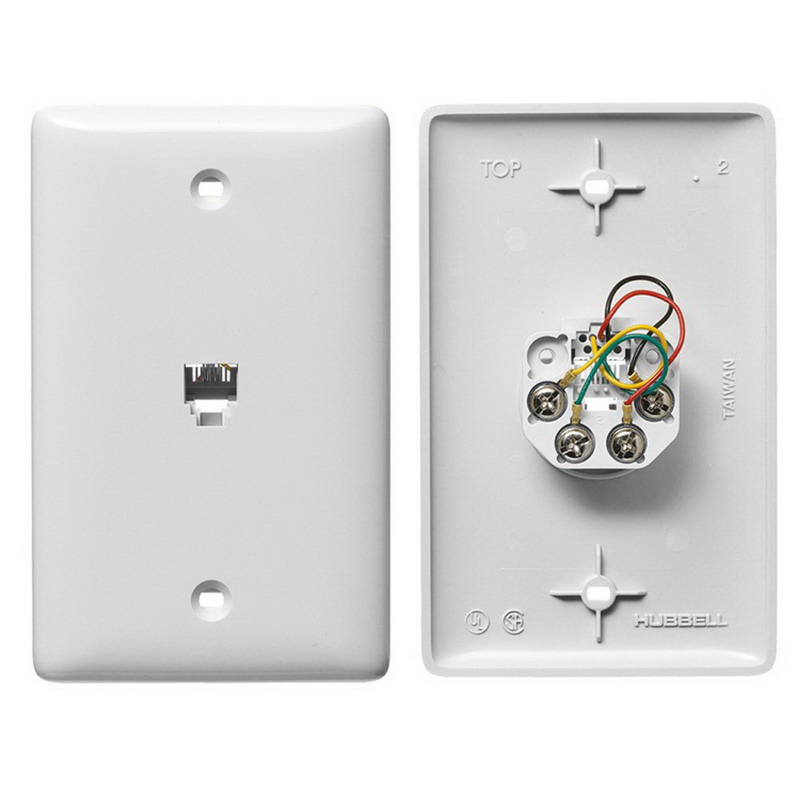 Hubbell Wiring NS730W NetSelect® 1-Gang Wall Jack Plate; Wall, Thermoplastic, White