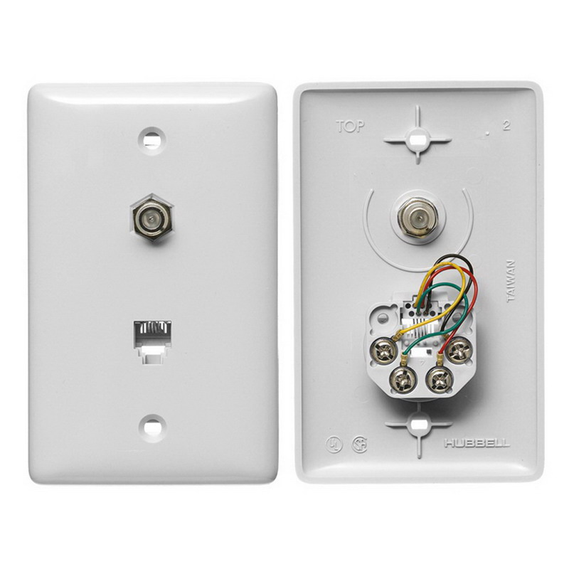 Hubbell Wiring NS747W NetSelect® 1-Gang Wall Jack Plate; Screw, Thermoplastic, White