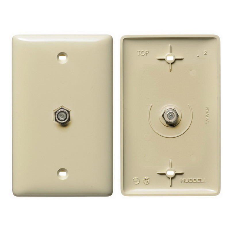 Hubbell Wiring NS750I NetSelect® 1-Gang Molded-In Wall Jack Plate; Screw, Nylon, Ivory