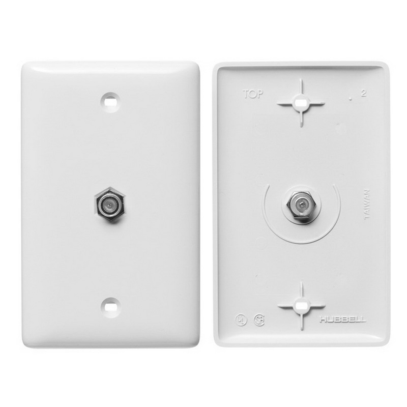 Hubbell Wiring NS750W NetSelect® 1-Gang Molded-In Wall Jack Plate; Screw, Nylon, White