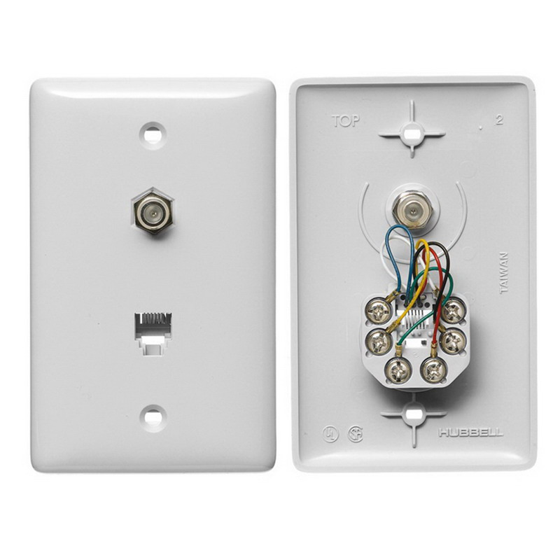 Hubbell Wiring NS748W NetSelect® 1-Gang Wall Jack Plate; Wall, Thermoplastic, White
