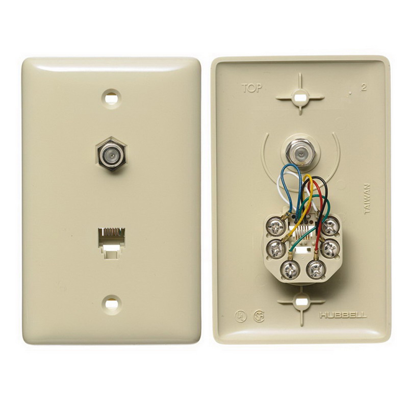Hubbell Wiring NS748I NetSelect® 1-Gang Wall Jack Plate; Wall, Thermoplastic, Electric Ivory