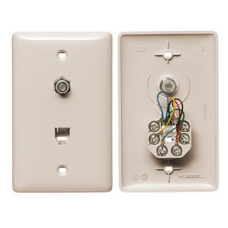 Hubbell Wiring NS748LA NetSelect® 1-Gang Wall Jack Plate; Wall, Thermoplastic, Light Almond
