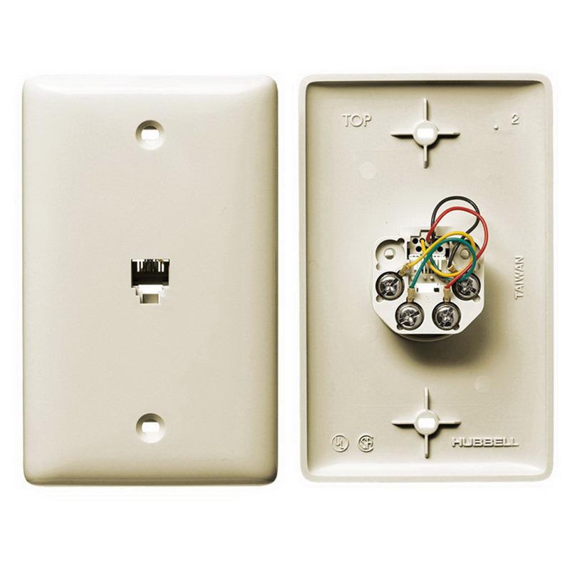 Hubbell Wiring NS730LA NetSelect® 1-Gang Wall Jack Plate; Wall, Thermoplastic, Light Almond