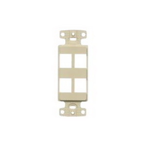 Hubbell Wiring NS614I 1-Gang Decorator Frame; Box/Wall/Strap, (4) Port, Keystone, High Impact Resistant Thermoplastic, Ivory