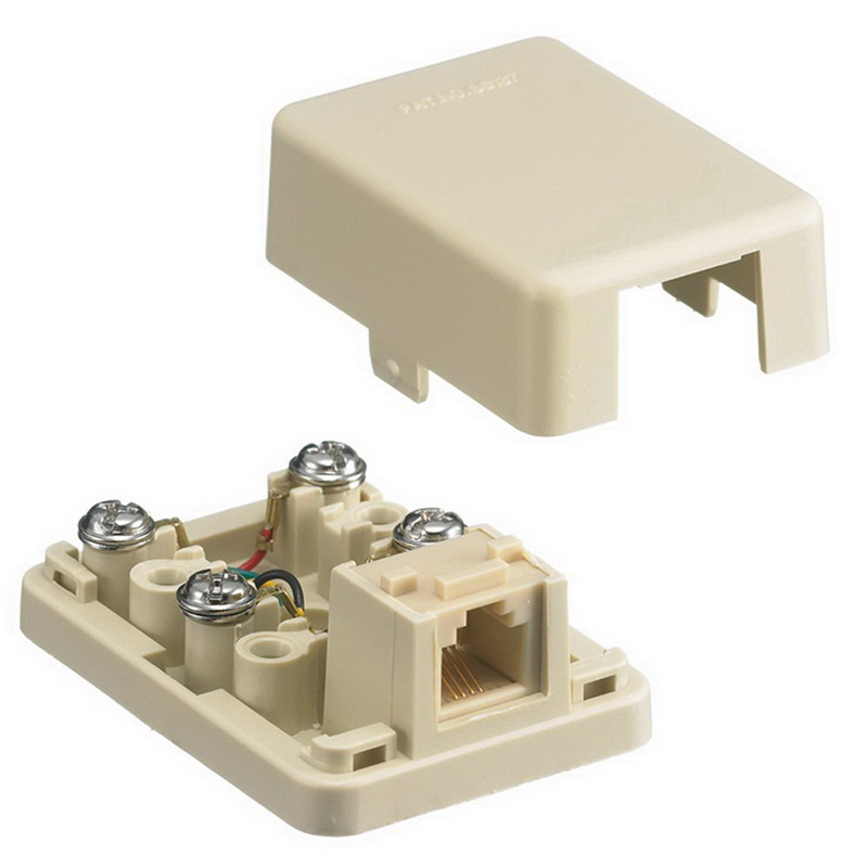 Hubbell Wiring NS760I NetSelect® Wallplate; Surface/Screw, (1) 6P4C Jack, High Impact Resistant Thermoplastic, Electric Ivory