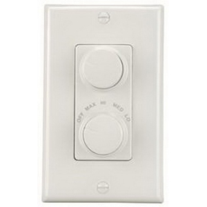 Broan Nu-Tone 79W 4-Speed Fan and Light Wall Control 120 Volt AC  1.5 Amp  Knob On/Off  White Color