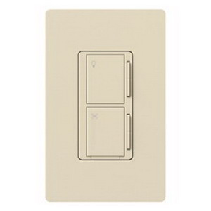 Lutron MA-ALFQ35-LA Maestro® Companion Dimmer With Fan Speed Control Switch; 120 Volt AC, 3.5 Amp, Tap On/Off, Light Almond Color Gloss Finish
