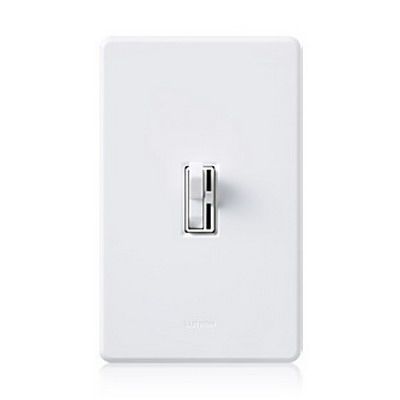 Lutron AYF-103P-277-IV Ariadni® 3-Way Fluorescent Preset Slide Dimmer With Toggle Switch; 277 Volt AC, 6 Amp, Ivory Color Gloss Finish, Wall Box Mount