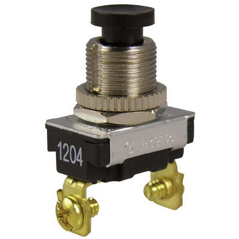 Gardner Bender GSW-22 Heavy-Duty Watertight/Oiltight Pushbutton Switch 120/240 Volt AC  6 Amp At 120 Volt AC  3 Amp At 240 Volt AC  Momentary-On/Default-Off  SPST  Black