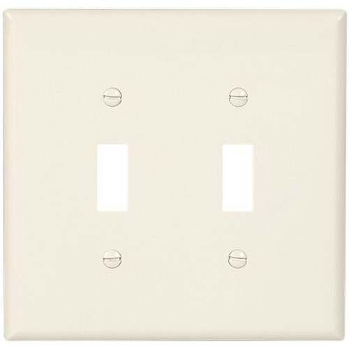 Cooper Wiring PJ2LA 2-Gang Toggle Switch Wallplate; Abrasion/Impact Resistant Polycarbonate, Light Almond