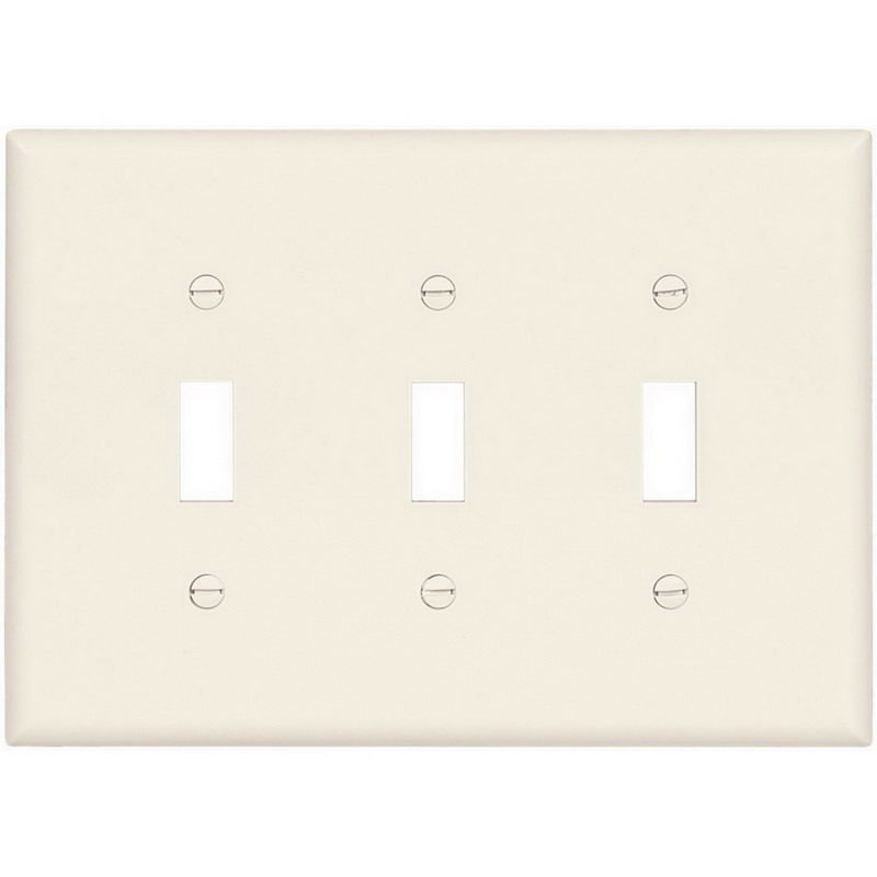 Cooper Wiring PJ3LA 3-Gang Toggle Switch Wallplate; Abrasion/Impact Resistant Polycarbonate, Light Almond