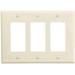 Cooper Wiring PJ263LA Arrow Hart™ Eagle Mid-Size 3-Gang Decorator Wallplate; Screw Mount, Polycarbonate, Light Almond